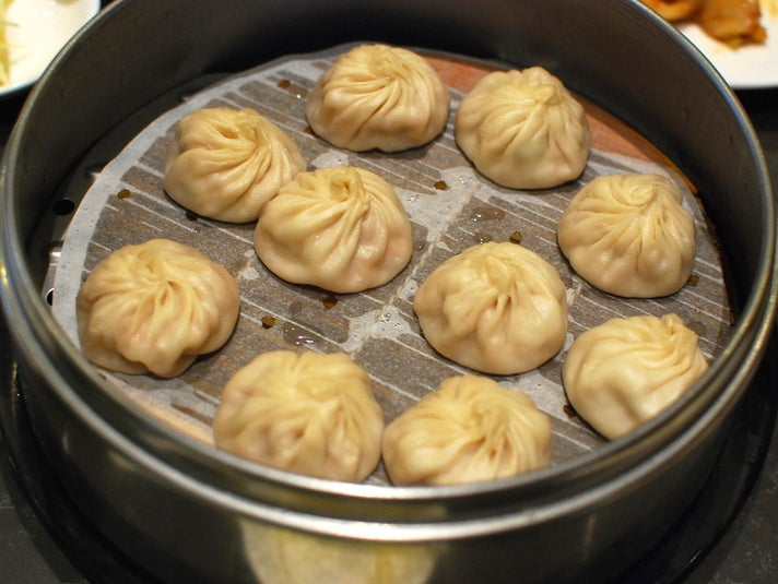 Soup dumplings at Din Tai Fung in The Americana at Brand